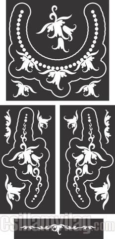 Harangvirág ékszer festősablon szett csillám tetováláshoz